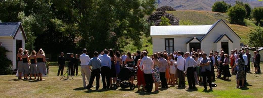 An outdoor wedding at the Cardrona  Historic Domain
