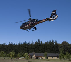 Helicopter arriving at Maple Lodge