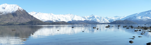 Winter view from the lakeshore at Wanaka Lakehouse